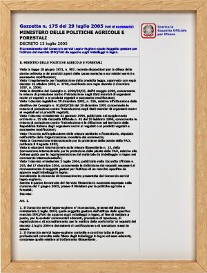 DECRETO MINISTERIALE 13 LUGLIO 2005